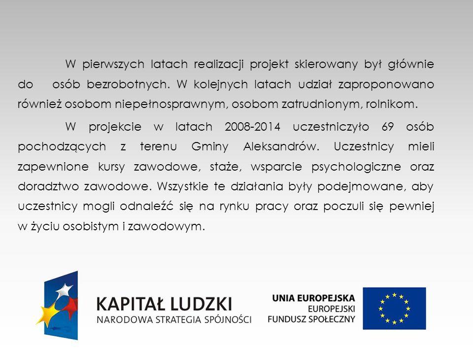 W pierwszych latach realizacji projekt skierowany był głównie do osób bezrobotnych.