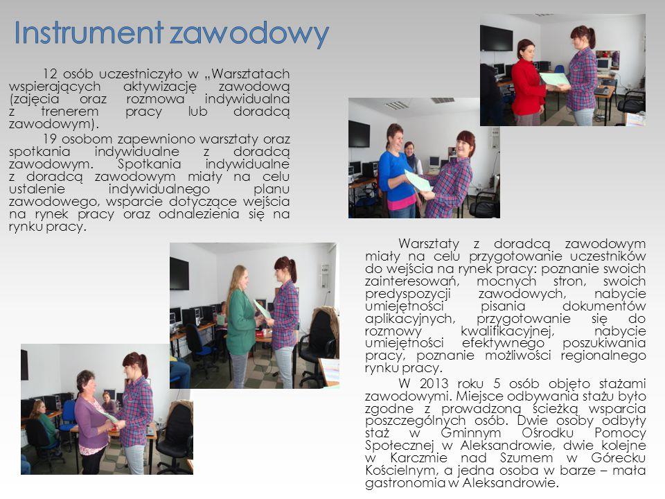 """12 osób uczestniczyło w """"Warsztatach wspierających aktywizację zawodową (zajęcia oraz rozmowa indywidualna z trenerem pracy lub doradcą zawodowym)."""