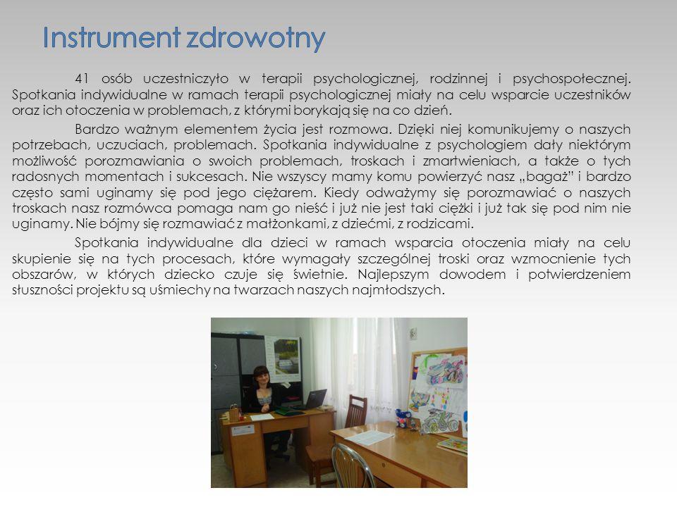41 osób uczestniczyło w terapii psychologicznej, rodzinnej i psychospołecznej.