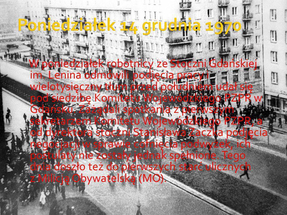 W poniedziałek robotnicy ze Stoczni Gdańskiej im. Lenina odmówili podjęcia pracy i wielotysięczny tłum przed południem udał się pod siedzibę Komitetu