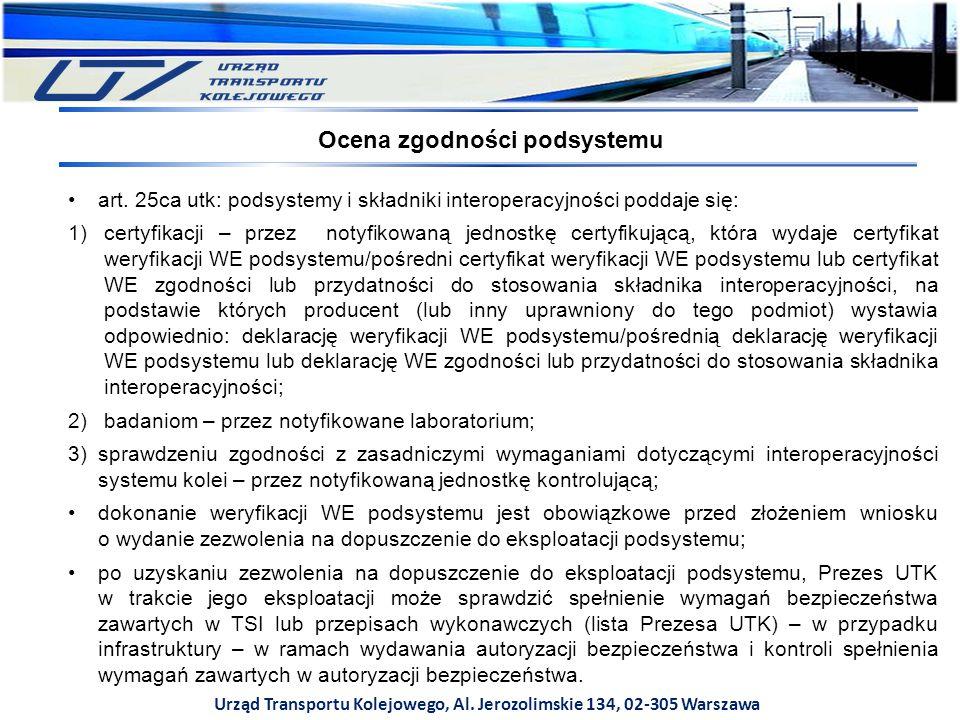 Urząd Transportu Kolejowego, Al. Jerozolimskie 134, 02-305 Warszawa art. 25ca utk: podsystemy i składniki interoperacyjności poddaje się: 1)certyfikac