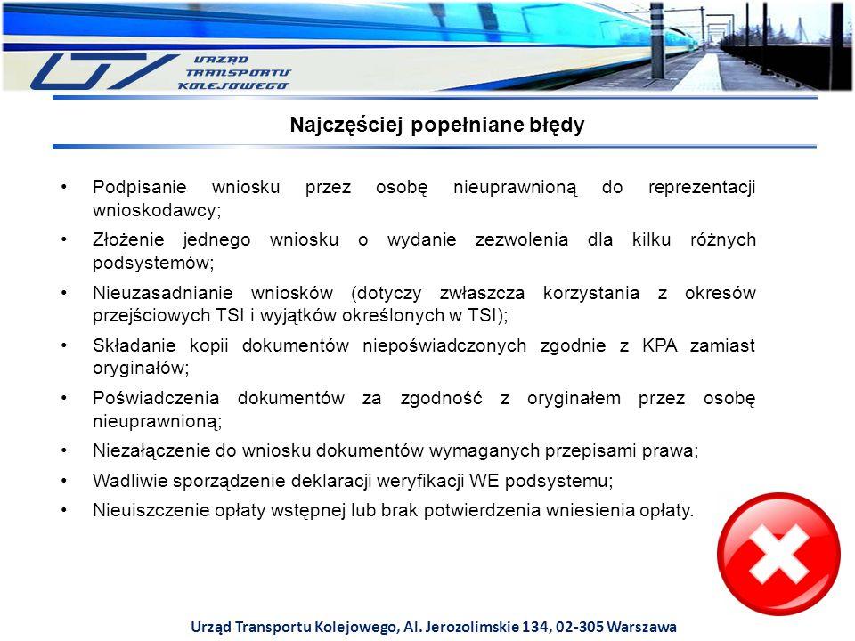 Urząd Transportu Kolejowego, Al. Jerozolimskie 134, 02-305 Warszawa Podpisanie wniosku przez osobę nieuprawnioną do reprezentacji wnioskodawcy; Złożen