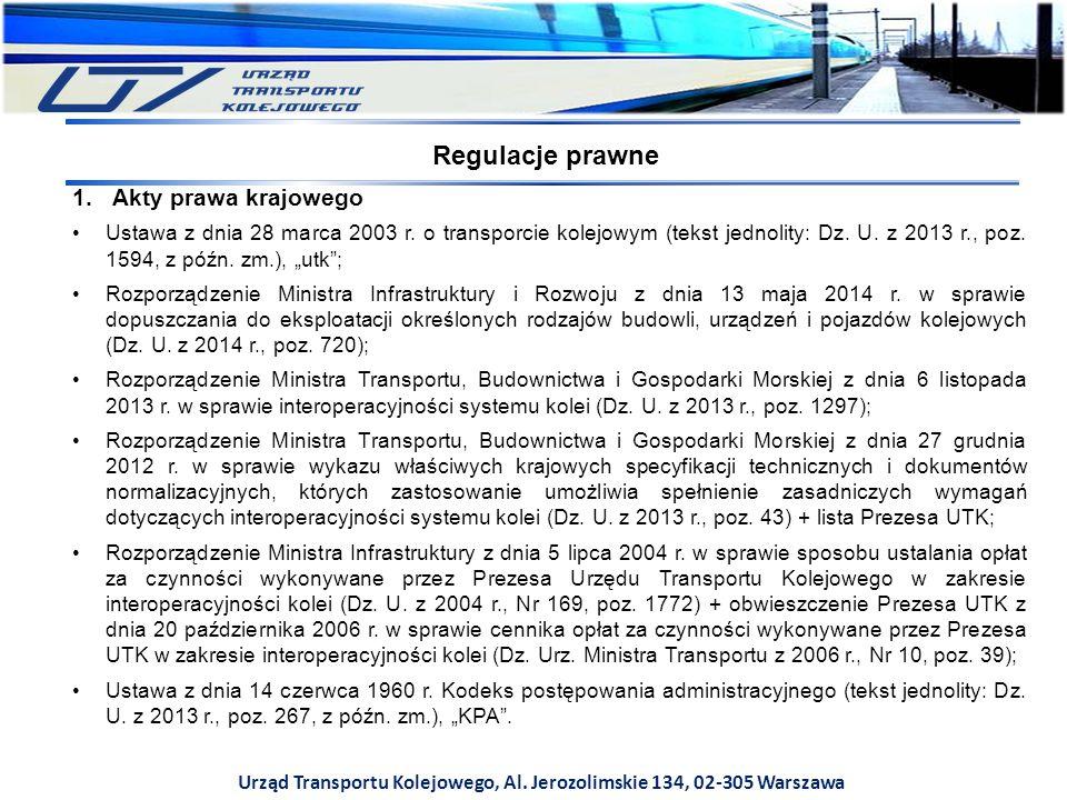 Urząd Transportu Kolejowego, Al. Jerozolimskie 134, 02-305 Warszawa 1.Akty prawa krajowego Ustawa z dnia 28 marca 2003 r. o transporcie kolejowym (tek