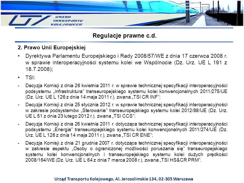 Urząd Transportu Kolejowego, Al. Jerozolimskie 134, 02-305 Warszawa 2. Prawo Unii Europejskiej Dyrektywa Parlamentu Europejskiego i Rady 2008/57/WE z