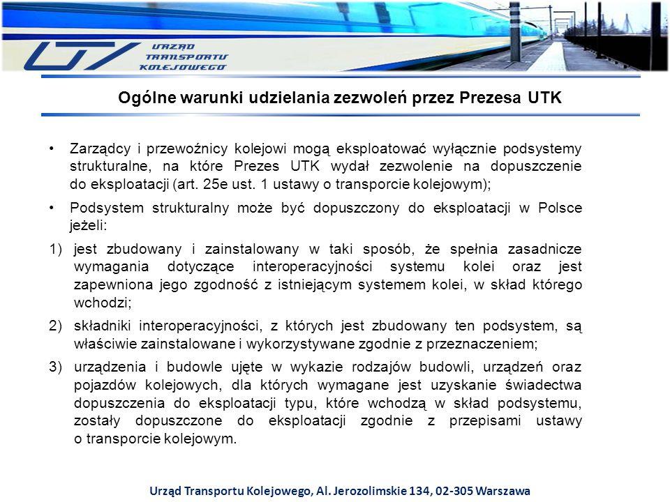 Urząd Transportu Kolejowego, Al. Jerozolimskie 134, 02-305 Warszawa Zarządcy i przewoźnicy kolejowi mogą eksploatować wyłącznie podsystemy strukturaln