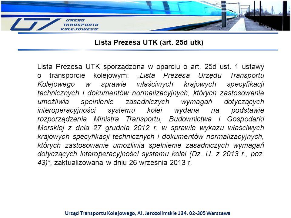 Urząd Transportu Kolejowego, Al. Jerozolimskie 134, 02-305 Warszawa Lista Prezesa UTK sporządzona w oparciu o art. 25d ust. 1 ustawy o transporcie kol