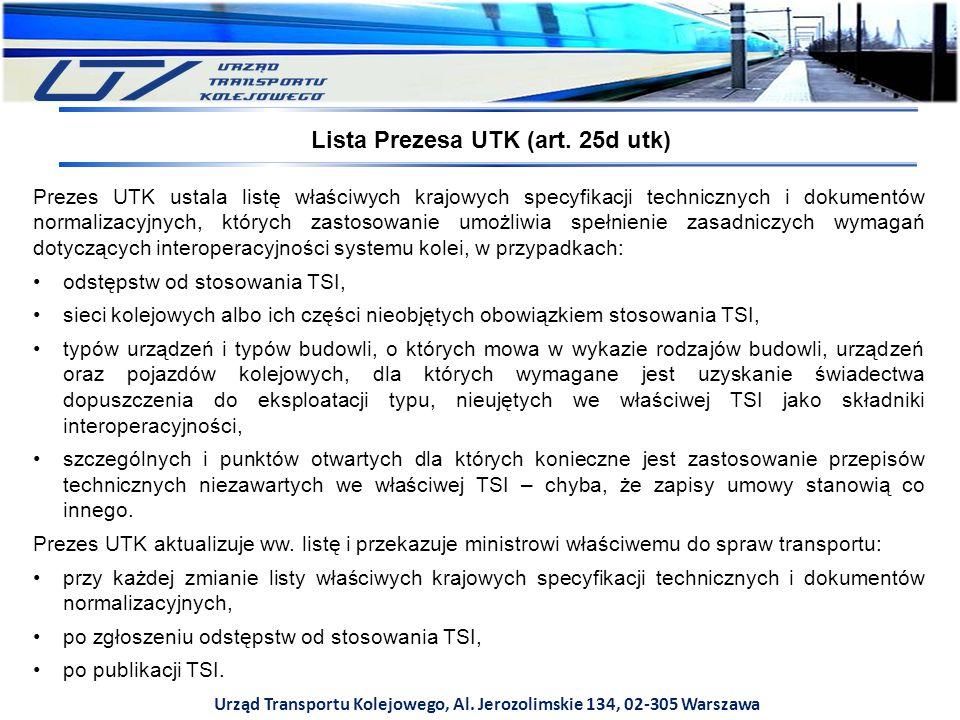 Urząd Transportu Kolejowego, Al. Jerozolimskie 134, 02-305 Warszawa Prezes UTK ustala listę właściwych krajowych specyfikacji technicznych i dokumentó
