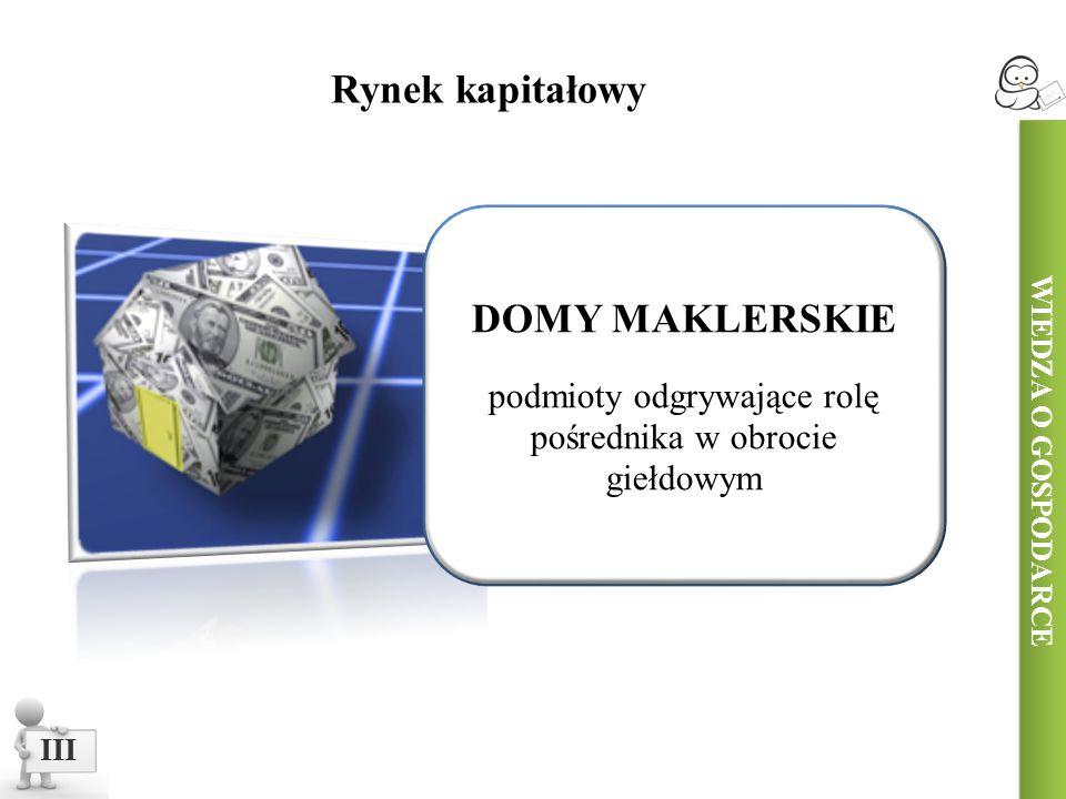 WIEDZA O GOSPODARCE III DOMY MAKLERSKIE podmioty odgrywające rolę pośrednika w obrocie giełdowym Rynek kapitałowy