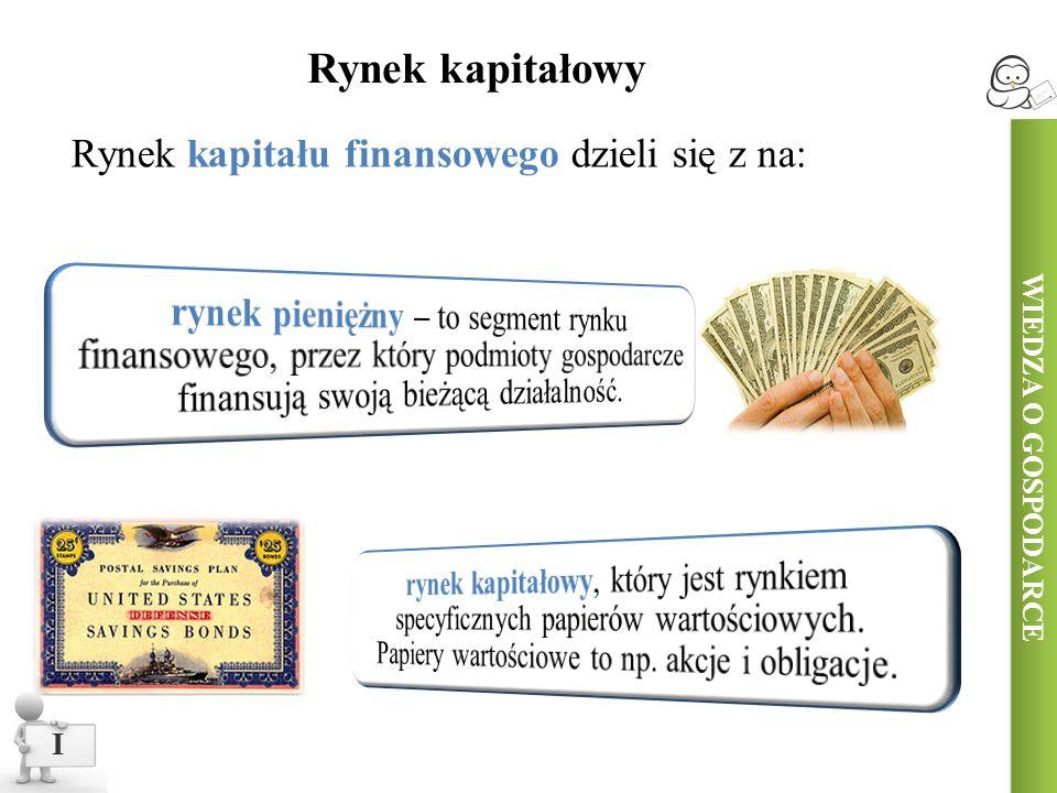 WIEDZA O GOSPODARCE I Rynek kapitałowy Rynek kapitału finansowego dzieli się z na: