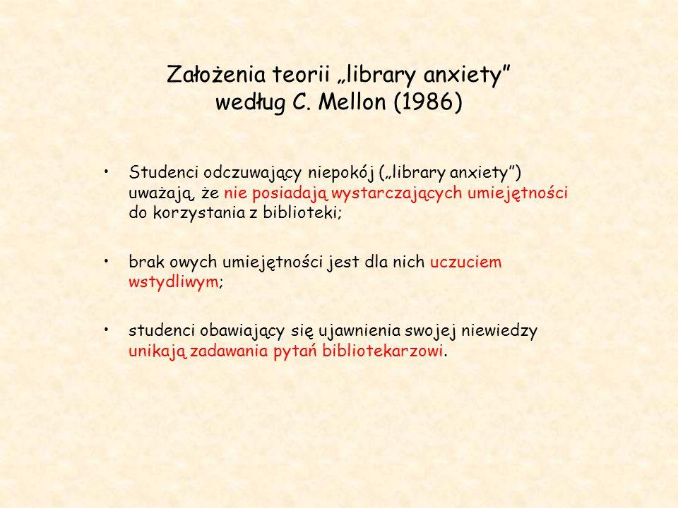 """Założenia teorii """"library anxiety"""" według C. Mellon (1986) Studenci odczuwający niepokój (""""library anxiety"""") uważają, że nie posiadają wystarczających"""