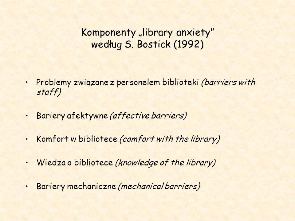 """Komponenty """"library anxiety"""" według S. Bostick (1992) Problemy związane z personelem biblioteki (barriers with staff) Bariery afektywne (affective bar"""
