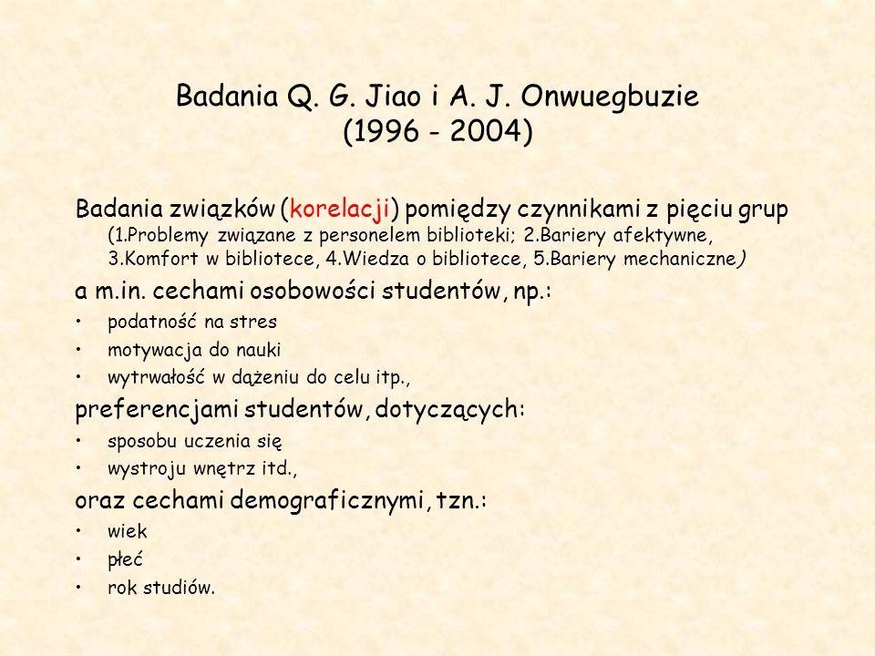 Badania Q. G. Jiao i A. J. Onwuegbuzie (1996 - 2004) Badania związków (korelacji) pomiędzy czynnikami z pięciu grup (1.Problemy związane z personelem