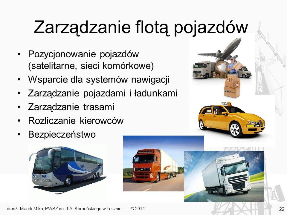 Zarządzanie flotą pojazdów Pozycjonowanie pojazdów (satelitarne, sieci komórkowe) Wsparcie dla systemów nawigacji Zarządzanie pojazdami i ładunkami Zarządzanie trasami Rozliczanie kierowców Bezpieczeństwo © 2014dr inż.