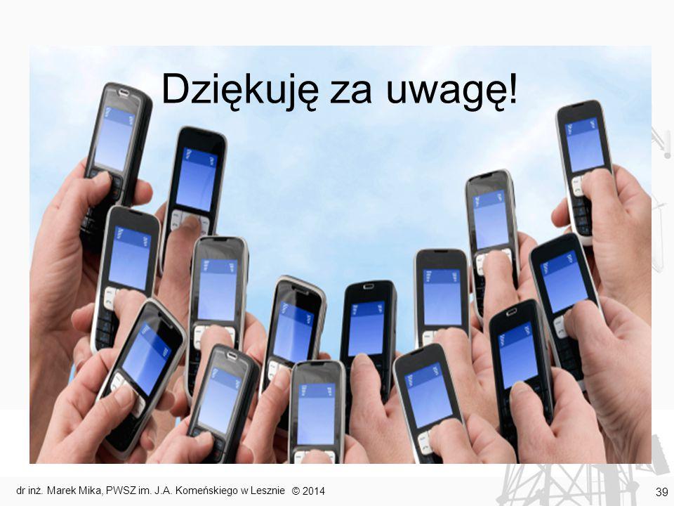 Dziękuję za uwagę! © 2014 dr inż. Marek Mika, PWSZ im. J.A. Komeńskiego w Lesznie 39