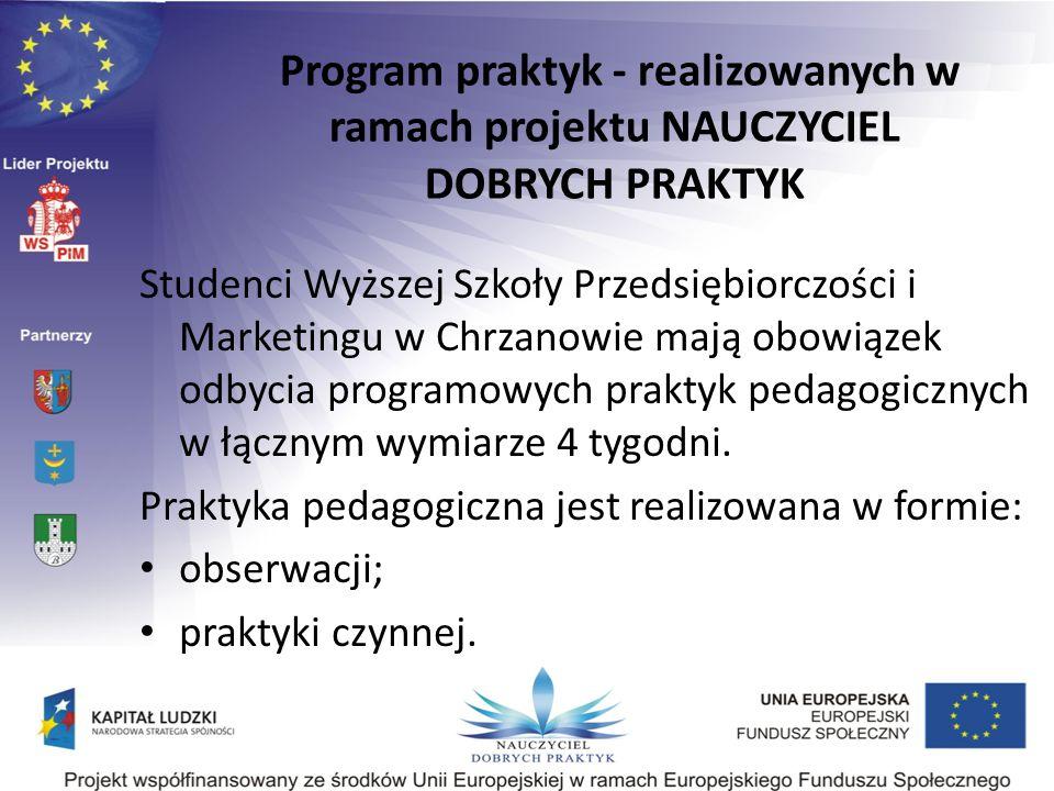 Program praktyk - realizowanych w ramach projektu NAUCZYCIEL DOBRYCH PRAKTYK Studenci Wyższej Szkoły Przedsiębiorczości i Marketingu w Chrzanowie mają