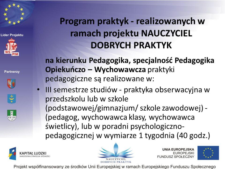na kierunku Pedagogika, specjalność Pedagogika Opiekuńczo – Wychowawcza praktyki pedagogiczne są realizowane w: III semestrze studiów - praktyka obser