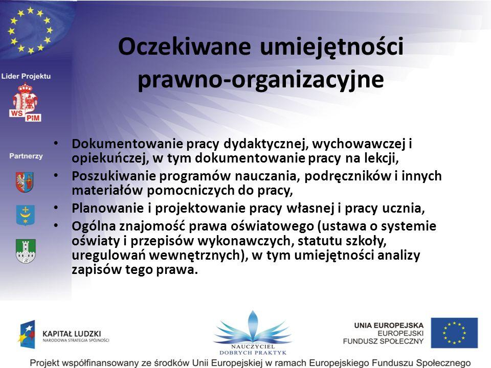 Oczekiwane umiejętności prawno-organizacyjne Dokumentowanie pracy dydaktycznej, wychowawczej i opiekuńczej, w tym dokumentowanie pracy na lekcji, Posz