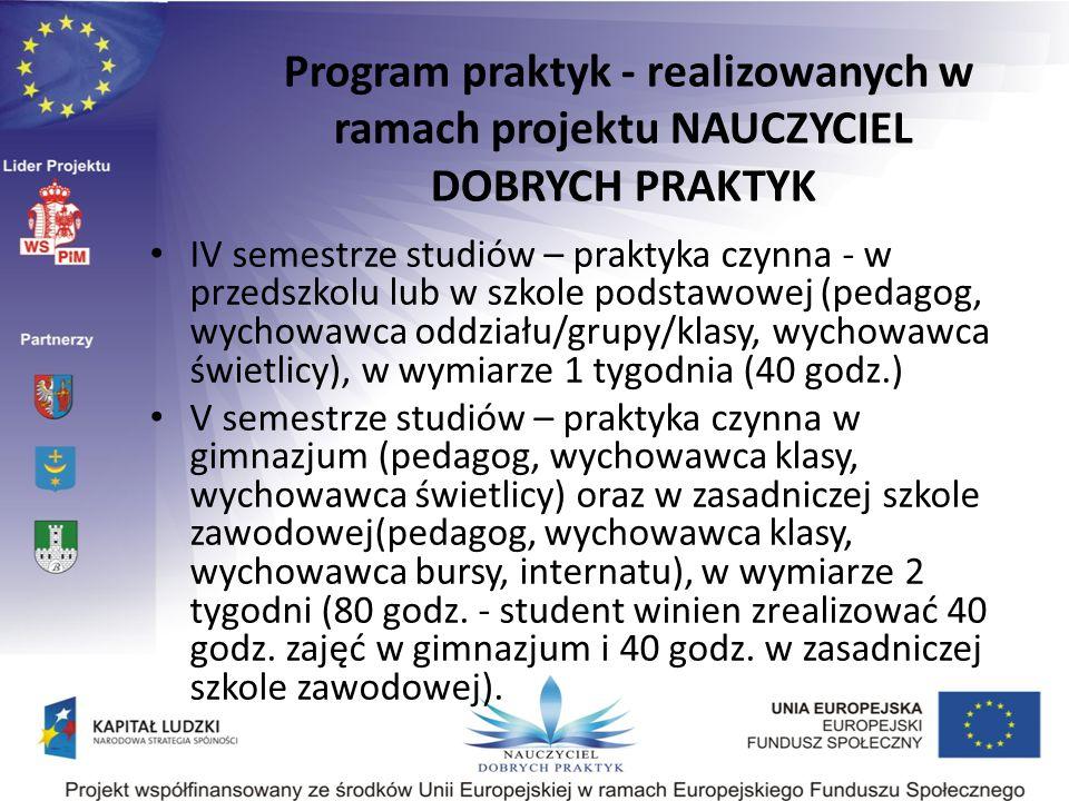 IV semestrze studiów – praktyka czynna - w przedszkolu lub w szkole podstawowej (pedagog, wychowawca oddziału/grupy/klasy, wychowawca świetlicy), w wy