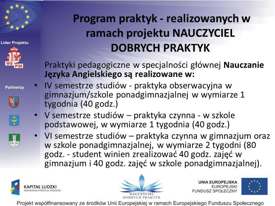 Praktyki pedagogiczne w specjalności głównej Nauczanie Języka Angielskiego są realizowane w: IV semestrze studiów - praktyka obserwacyjna w gimnazjum/