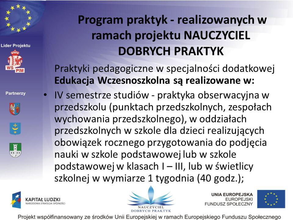Praktyki pedagogiczne w specjalności dodatkowej Edukacja Wczesnoszkolna są realizowane w: IV semestrze studiów - praktyka obserwacyjna w przedszkolu (