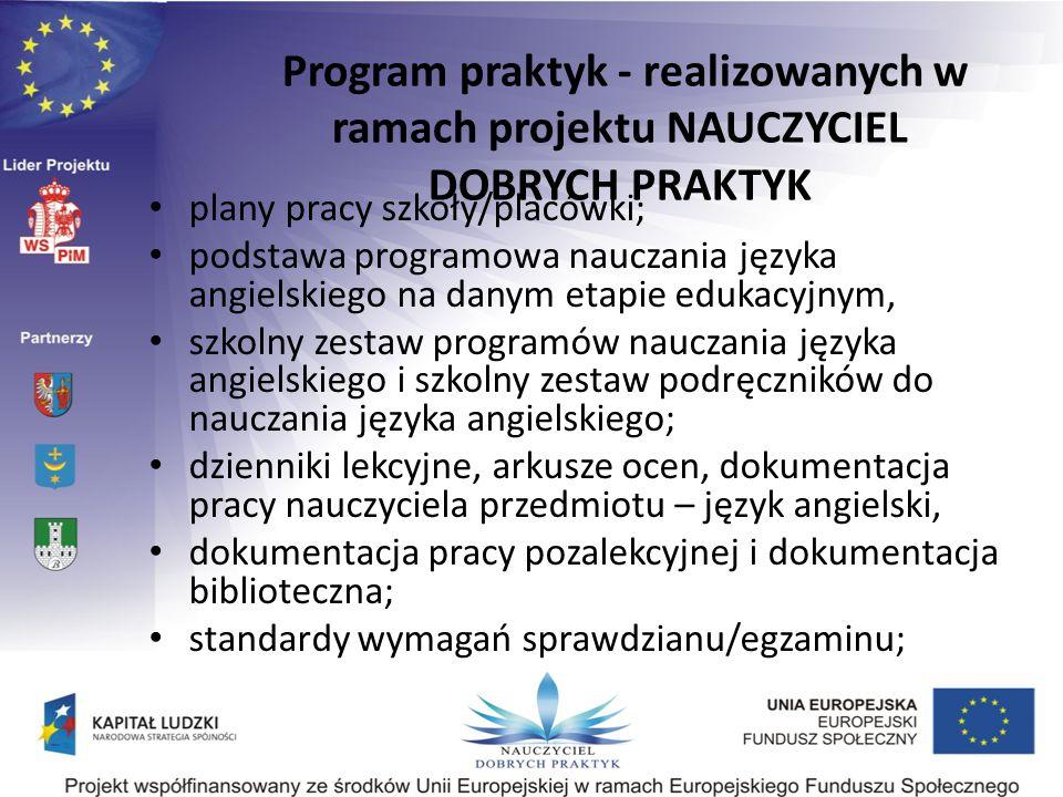 plany pracy szkoły/placówki; podstawa programowa nauczania języka angielskiego na danym etapie edukacyjnym, szkolny zestaw programów nauczania języka