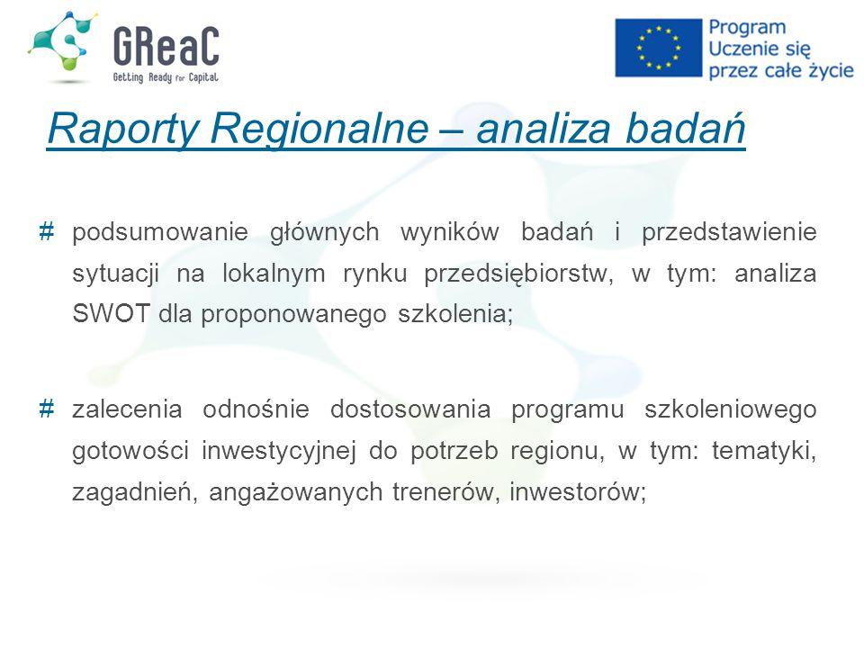 Raporty Regionalne – analiza badań # podsumowanie głównych wyników badań i przedstawienie sytuacji na lokalnym rynku przedsiębiorstw, w tym: analiza S