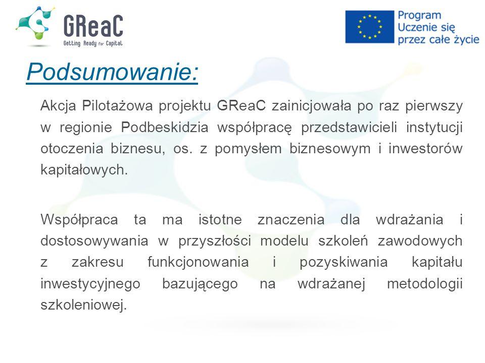 Podsumowanie: Akcja Pilotażowa projektu GReaC zainicjowała po raz pierwszy w regionie Podbeskidzia współpracę przedstawicieli instytucji otoczenia biznesu, os.