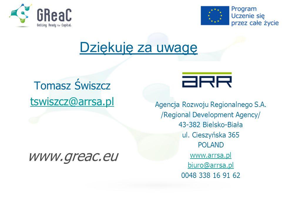 Tomasz Świszcz tswiszcz@arrsa.pl www.greac.eu Agencja Rozwoju Regionalnego S.A. /Regional Development Agency/ 43-382 Bielsko-Biała ul. Cieszyńska 365