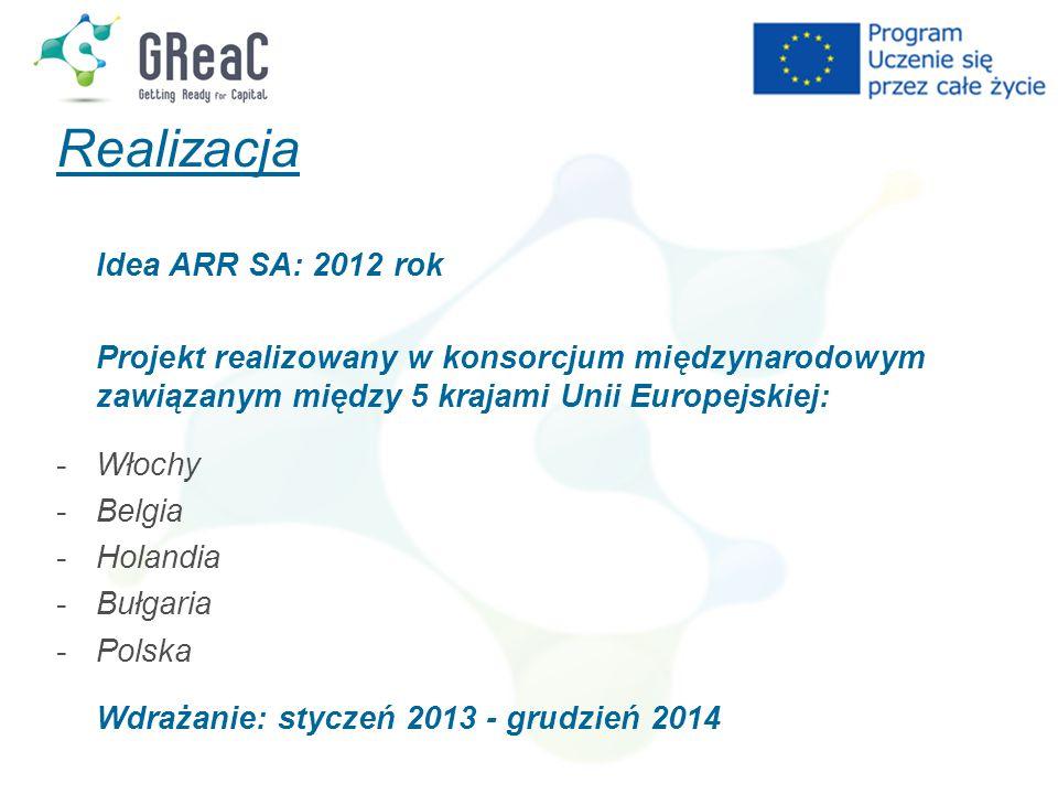 Realizacja Idea ARR SA: 2012 rok Projekt realizowany w konsorcjum międzynarodowym zawiązanym między 5 krajami Unii Europejskiej: -Włochy -Belgia -Holandia -Bułgaria -Polska Wdrażanie: styczeń 2013 - grudzień 2014