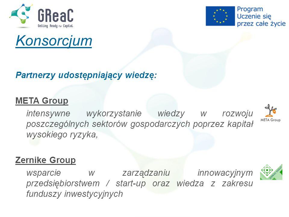 Konsorcjum Partnerzy udostępniający wiedzę: META Group intensywne wykorzystanie wiedzy w rozwoju poszczególnych sektorów gospodarczych poprzez kapitał