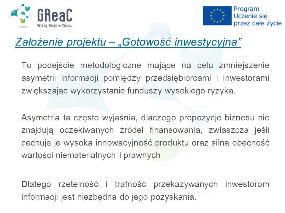 """Założenie projektu – """"Gotowość inwestycyjna"""" To podejście metodologiczne mające na celu zmniejszenie asymetrii informacji pomiędzy przedsiębiorcami i"""