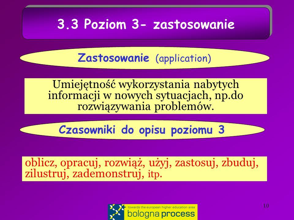 10 3.3 Poziom 3- zastosowanie Umiejętność wykorzystania nabytych informacji w nowych sytuacjach, np.do rozwiązywania problemów.