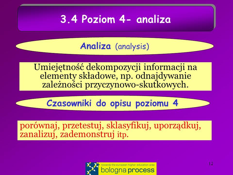 12 3.4 Poziom 4- analiza Umiejętność dekompozycji informacji na elementy składowe, np.