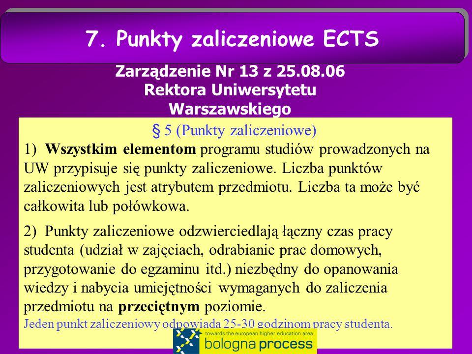 22 Zarządzenie Nr 13 z 25.08.06 Rektora Uniwersytetu Warszawskiego § 5 (Punkty zaliczeniowe) 1) Wszystkim elementom programu studiów prowadzonych na UW przypisuje się punkty zaliczeniowe.