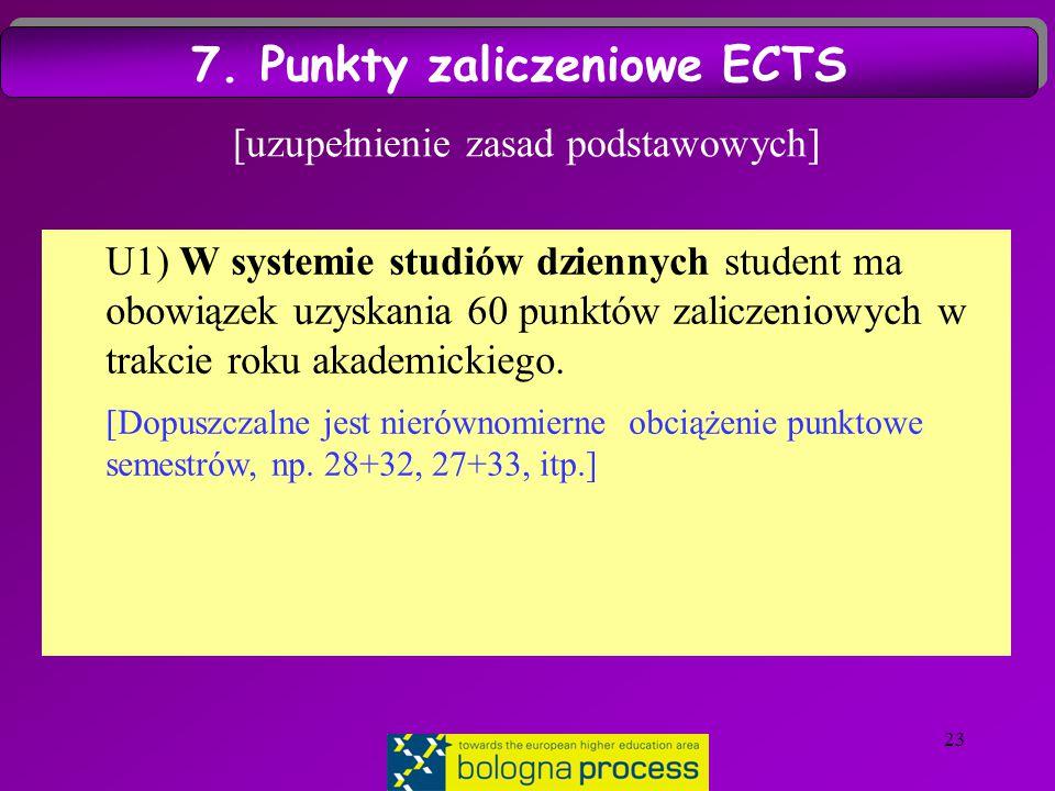 23 [uzupełnienie zasad podstawowych] U1) W systemie studiów dziennych student ma obowiązek uzyskania 60 punktów zaliczeniowych w trakcie roku akademickiego.