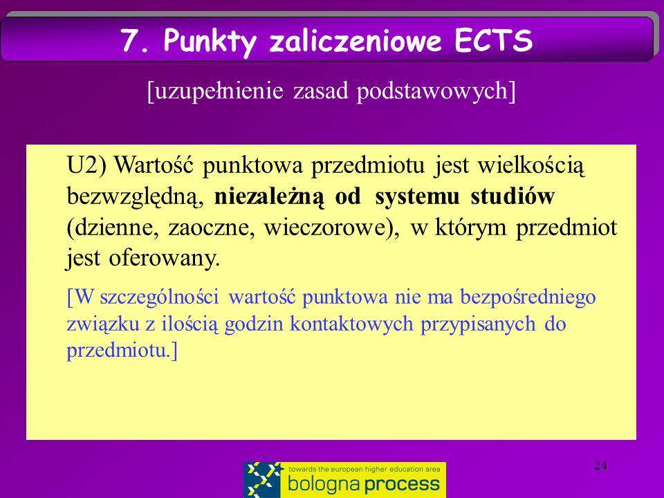 24 [uzupełnienie zasad podstawowych] U2) Wartość punktowa przedmiotu jest wielkością bezwzględną, niezależną od systemu studiów (dzienne, zaoczne, wieczorowe), w którym przedmiot jest oferowany.