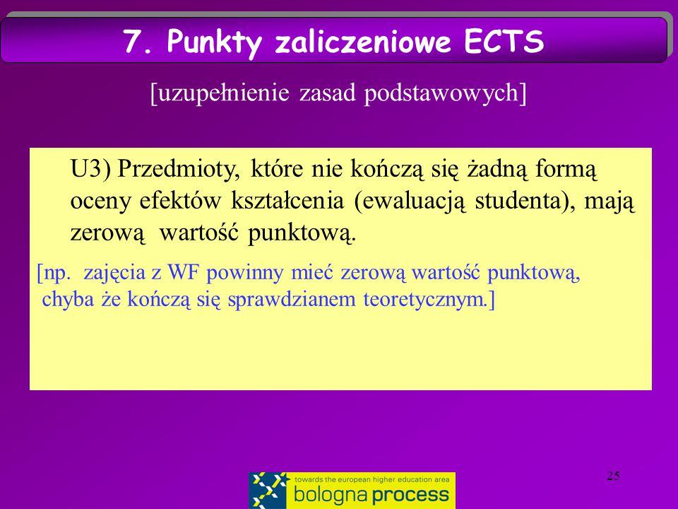 25 [uzupełnienie zasad podstawowych] U3) Przedmioty, które nie kończą się żadną formą oceny efektów kształcenia (ewaluacją studenta), mają zerową wartość punktową.