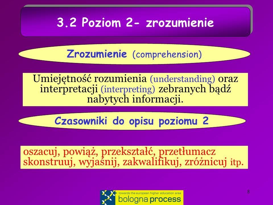 8 3.2 Poziom 2- zrozumienie Umiejętność rozumienia (understanding) oraz interpretacji (interpreting) zebranych bądź nabytych informacji.
