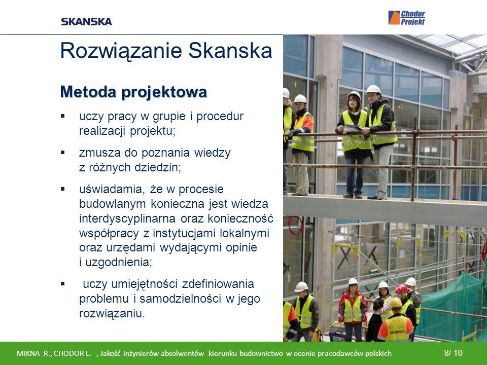 Internal Rozwiązanie Skanska Metoda projektowa  uczy pracy w grupie i procedur realizacji projektu;  zmusza do poznania wiedzy z różnych dziedzin; 