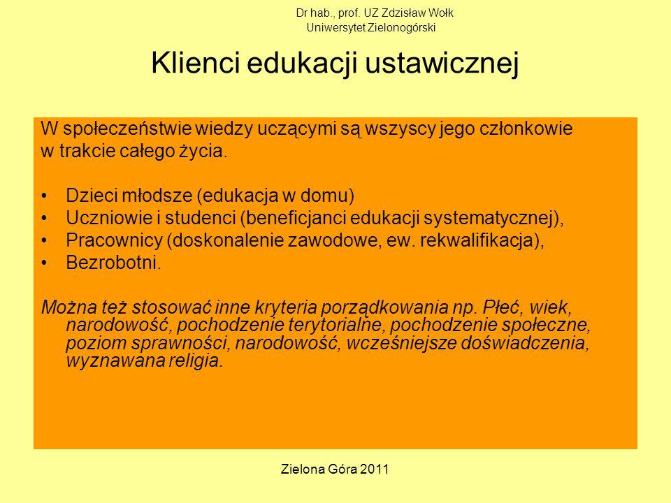 Zielona Góra 2011 Klienci edukacji ustawicznej W społeczeństwie wiedzy uczącymi są wszyscy jego członkowie w trakcie całego życia.