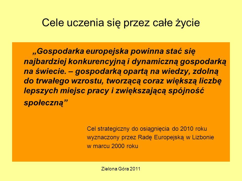 """Zielona Góra 2011 Cele uczenia się przez całe życie """"Gospodarka europejska powinna stać się najbardziej konkurencyjną i dynamiczną gospodarką na świecie."""