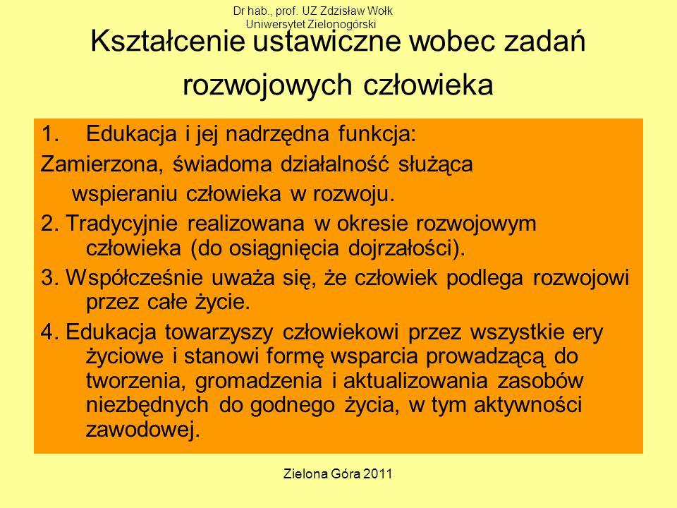 Zielona Góra 2011 Kształcenie ustawiczne wobec zadań rozwojowych człowieka 1.Edukacja i jej nadrzędna funkcja: Zamierzona, świadoma działalność służąca wspieraniu człowieka w rozwoju.