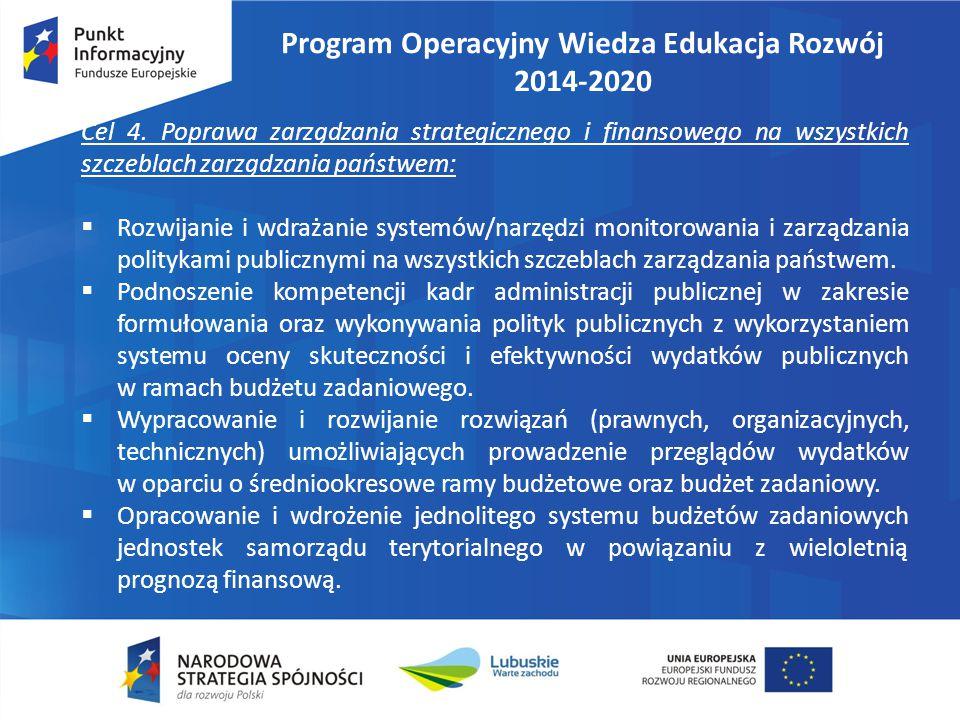 Program Operacyjny Wiedza Edukacja Rozwój 2014-2020 Cel 4. Poprawa zarządzania strategicznego i finansowego na wszystkich szczeblach zarządzania państ