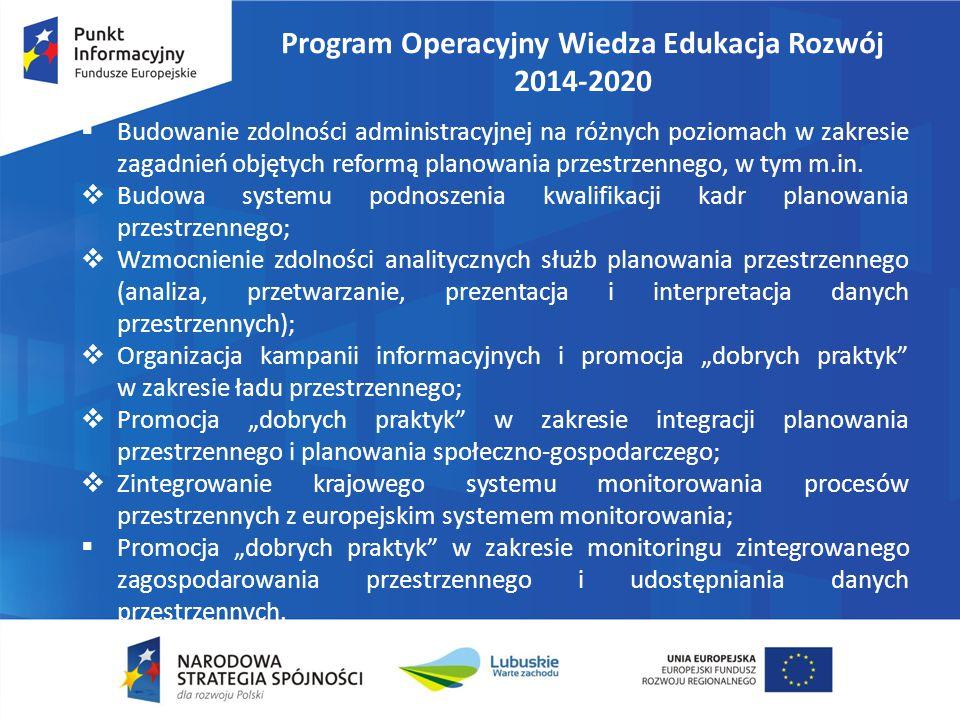 Program Operacyjny Wiedza Edukacja Rozwój 2014-2020  Budowanie zdolności administracyjnej na różnych poziomach w zakresie zagadnień objętych reformą