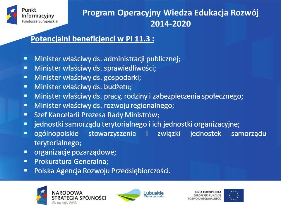 Program Operacyjny Wiedza Edukacja Rozwój 2014-2020 Potencjalni beneficjenci w PI 11.3 :  Minister właściwy ds. administracji publicznej;  Minister