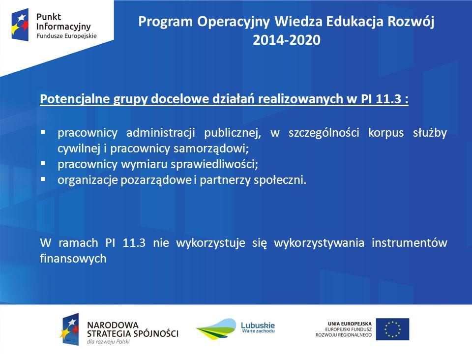 Program Operacyjny Wiedza Edukacja Rozwój 2014-2020 Potencjalne grupy docelowe działań realizowanych w PI 11.3 :  pracownicy administracji publicznej
