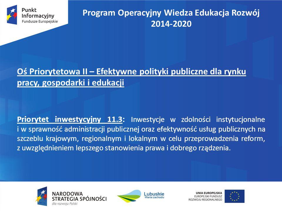 Program Operacyjny Wiedza Edukacja Rozwój 2014-2020 Cele szczegółowe PI 11.3: 1.Poprawa procesu stanowienia prawa, jakości regulacji oraz warunków prowadzenia działalności gospodarczej.