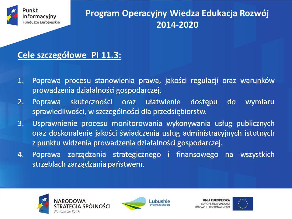 Program Operacyjny Wiedza Edukacja Rozwój 2014-2020 Potencjalne grupy docelowe działań realizowanych w PI 11.3 :  pracownicy administracji publicznej, w szczególności korpus służby cywilnej i pracownicy samorządowi;  pracownicy wymiaru sprawiedliwości;  organizacje pozarządowe i partnerzy społeczni.