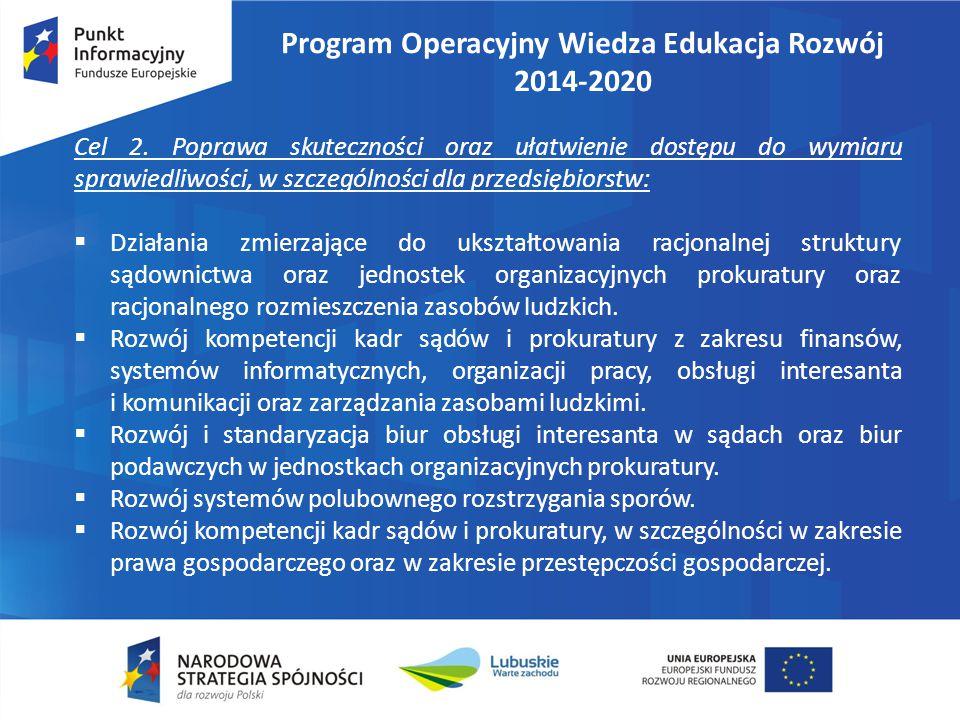 Program Operacyjny Wiedza Edukacja Rozwój 2014-2020 Cel 2. Poprawa skuteczności oraz ułatwienie dostępu do wymiaru sprawiedliwości, w szczególności dl