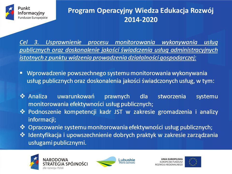 Program Operacyjny Wiedza Edukacja Rozwój 2014-2020 Cel 3. Usprawnienie procesu monitorowania wykonywania usług publicznych oraz doskonalenie jakości
